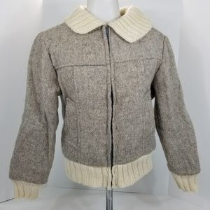 Vintage 80s 90s Wool Bomber Jacket Gray S XS Greek